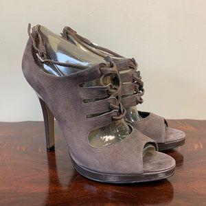 Nine West Grey Suede Dasolina Lace Up High Heels 7